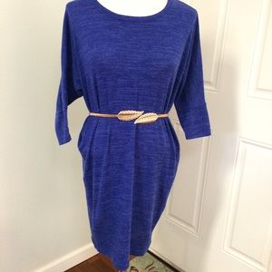 Electric blue dolman knit tunic sweater dress